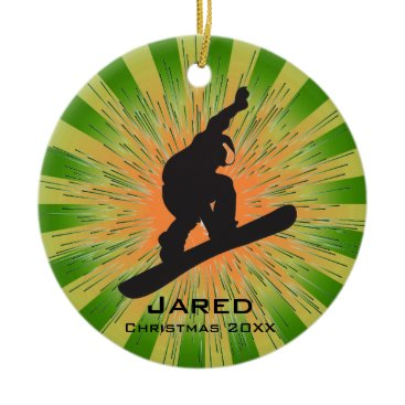 Christmas Themed Personalized Snowboarding Ornament
