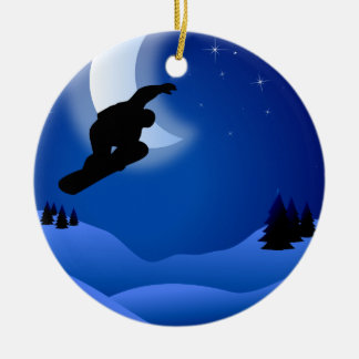 Personalized Snowboarding with Moon Mountain Double-Sided Ceramic Round Christmas Ornament