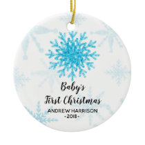 Personalized Snowflake Baby First Christmas Ceramic Ornament