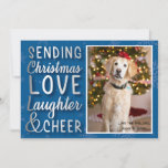 """Personalized Snowflake Blue Card<br><div class=""""desc"""">Personalized simple holiday card,  with your special family photo.</div>"""