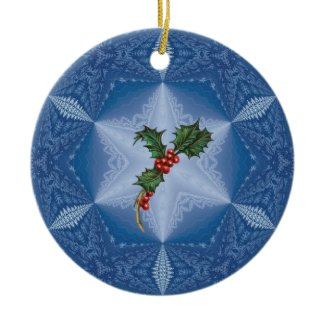 Personalized Snowflake with Holly Ornament.1 ornament
