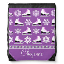 Personalized Snowflakes and Figure Skates Pattern Drawstring Backpack