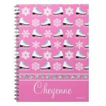 Personalized Snowflakes and Figure Skates Pattern Notebook