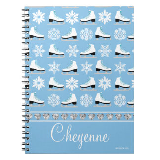 Personalized Snowflakes and Figure Skates Pattern Spiral Notebook