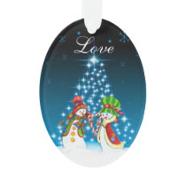 Personalized Snowman and Snow-Woman Couple Love Ornament