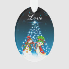 Personalized Snowman And Snow-woman Couple Love Ornament at Zazzle