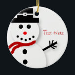 """Personalized Snowman Christmas Ornaments<br><div class=""""desc"""">Decorate your Christmas tree with our customized Christmas ornaments featuring a cute snowman graphic and a place to edit the text to add a name or date.</div>"""