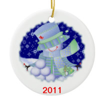 Personalized Snowman for Any Age Ceramic Ornament
