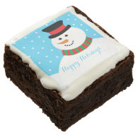 Personalized Snowman Happy Holidays Brownie