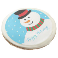 Personalized Snowman Happy Holidays Sugar Cookie