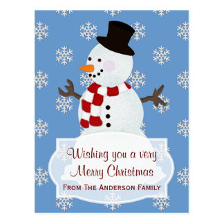 Personalized: Snowman Merry Christmas Postcard