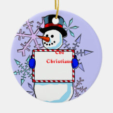 Personalized Snowman Ornament at Zazzle