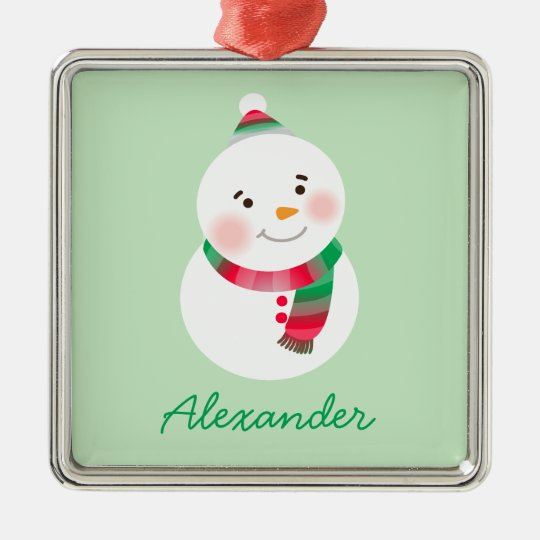 Personalized Snowman Ornament | Red and Green