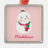 Personalized Snowman Ornament | Red Green