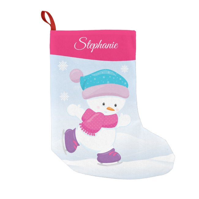 Personalized Snowman Small Christmas Stocking