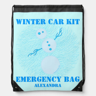 Personalized Snowman Winter Car Kit Emergency Bag Cinch Bags