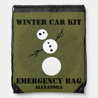 Personalized Snowman Winter Car Kit Emergency Pack Drawstring Bag
