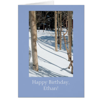Personalized Snowy Aspens Birthday Card Template