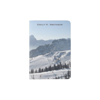 Personalized Snowy Mountain Ski Run Passport Holder