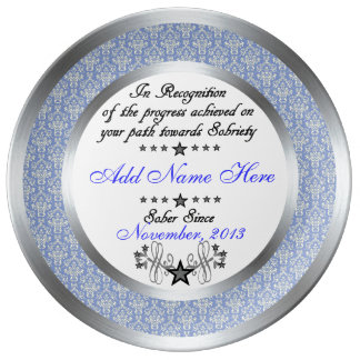 Personalized Sobriety Recognition & Award Plate Porcelain Plate