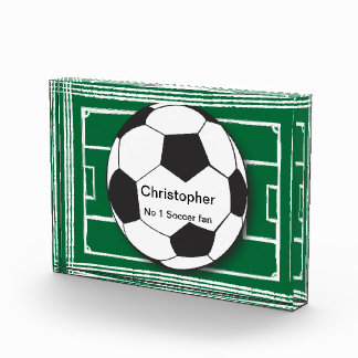 Personalized Soccer ball and field Acrylic Award