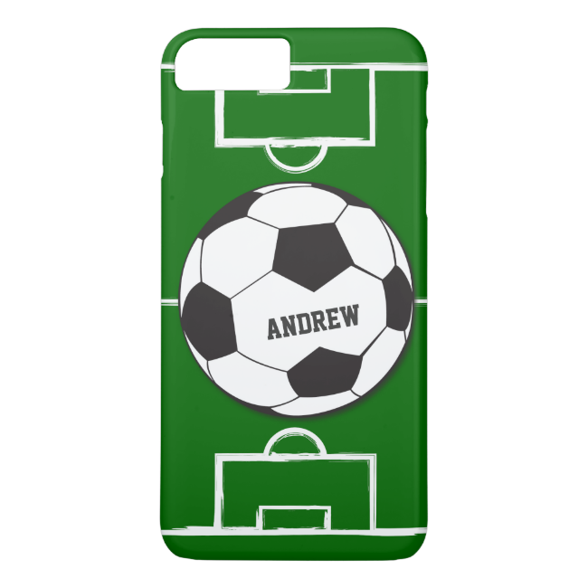Personalized Soccer Ball and Field iPhone 7 Plus Case
