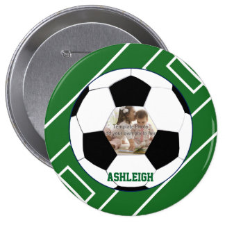 Personalized Soccer Ball and Field Photo template Button