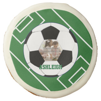 Personalized Soccer Ball and Field Photo template Sugar Cookie