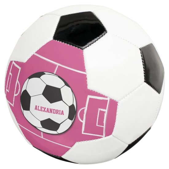 Personalized Soccer Ball and Field Pink