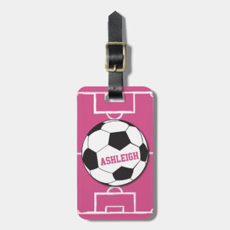 Personalized Soccer Ball and Field Pink Bag Tag