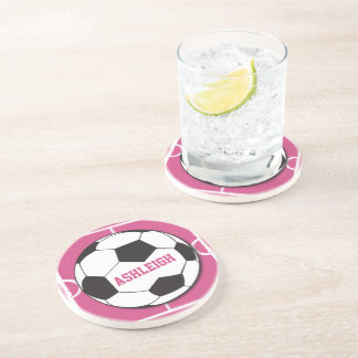 Personalized Soccer Ball and Field Pink Drink Coasters