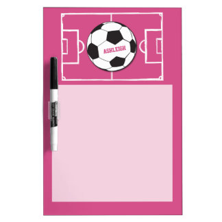 Personalized Soccer Ball and Field Pink Dry Erase Board