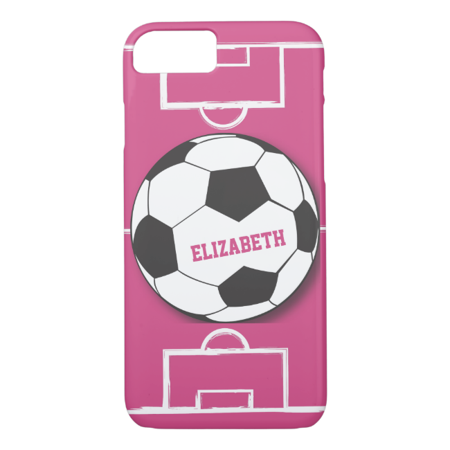 Personalized Soccer Ball and Field Pink iPhone 7 Case