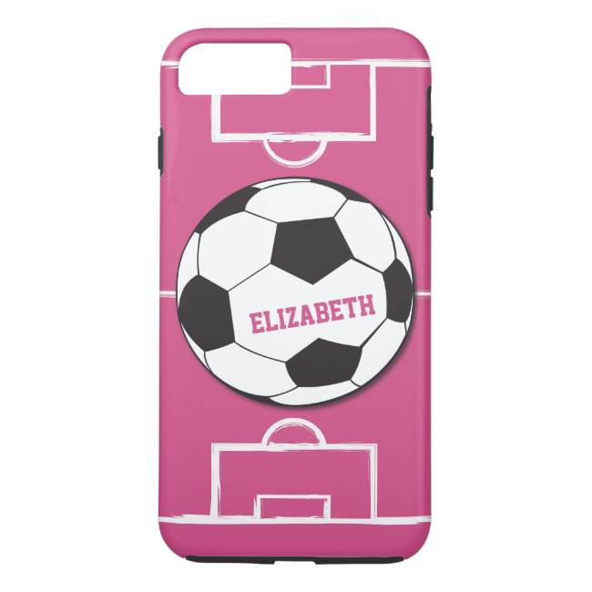 Personalized Soccer Ball and Field Pink iPhone 7 Plus Case