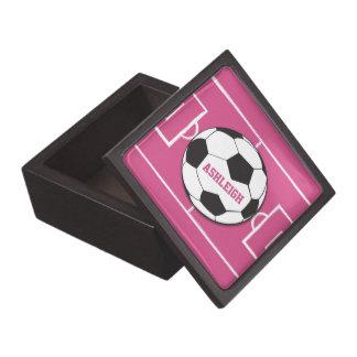 Personalized Soccer Ball and Field Pink Keepsake Box