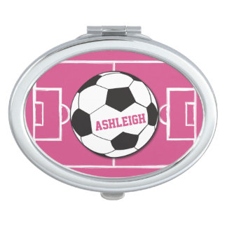 Personalized Soccer Ball and Field Pink Mirror For Makeup