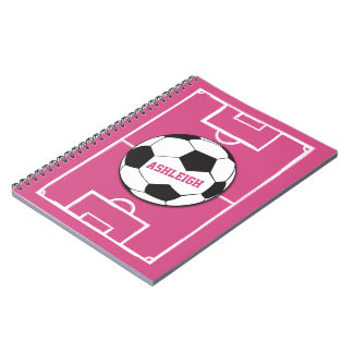 Personalized Soccer Ball and Field Pink Note Book