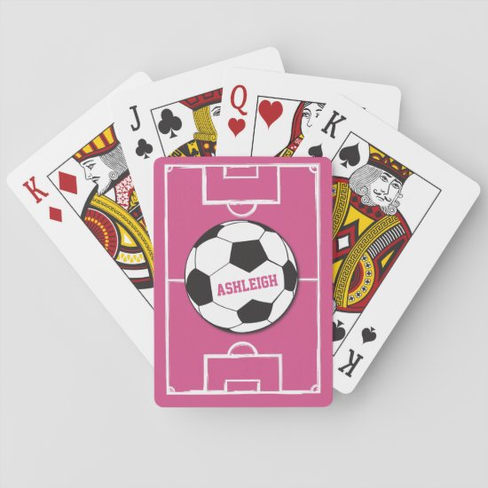 Personalized Soccer Ball and Field Pink Playing Cards