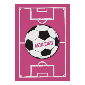 Personalized Soccer Ball and Field Pink Poster