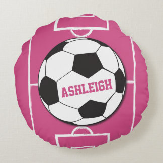 Personalized Soccer Ball and Field Pink Round Pillow