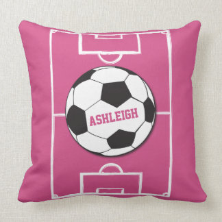 Personalized Soccer Ball and Field Pink Throw Pillow