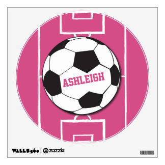 Personalized Soccer Ball and Field Pink Room Sticker