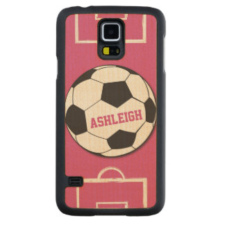 Personalized Soccer Ball and Field Pink Carved® Maple Galaxy S5 Slim Case