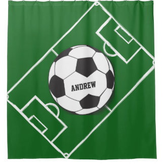 Personalized Soccer Ball And Field Shower Curtain