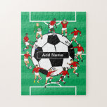 "Personalized Soccer Ball and Players Jigsaw Puzzle<br><div class=""desc"">Personalized soccer design featuring soccer players and soccer ball fully personalized with the name of your choice. If you would like players in a different color uniform / kit or if would you like this design on a product not already offered, please contact us via our store prior to purchase....</div>"