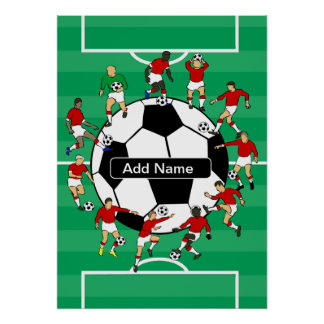 Personalized soccer ball and players poster