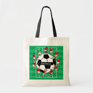 Personalized soccer ball and players tote bag