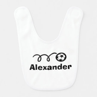 Personalized soccer ball baby bib with name