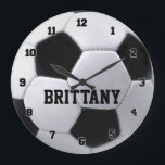 "Personalized Soccer Ball Clock<br><div class=""desc"">Customize this soccerball clock by changing the player name.</div>"