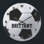 """Personalized Soccer Ball Clock<br><div class=""""desc"""">Customize this soccerball clock by changing the player name.</div>"""